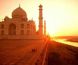 india, sunset, and taj mahal image