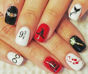 deathly hallows, harry potter, and nail art image