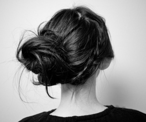 black and white, braid, and brunette image