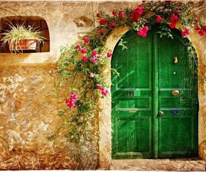 flowers, door, and green image