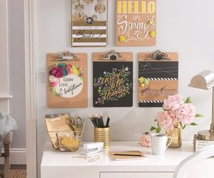 desk, decor, and decoration image