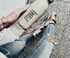 drink, jeans, and blue image