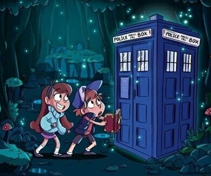 doctor who, gravity falls, and tardis image