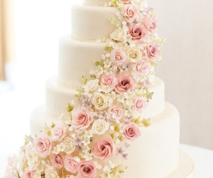 wedding, cake, and flowers image