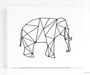 geometric elephant, geometric animal, and elefante geométrico image