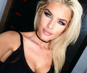 blond hair, blue eyes, and makeup image