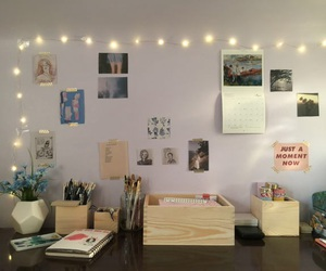 fairy lights, interior, and room image