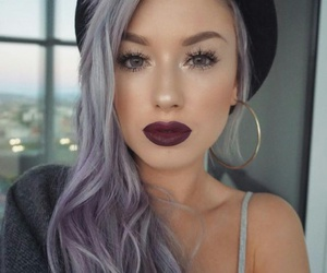 earrings, grey hair, and purple lips image