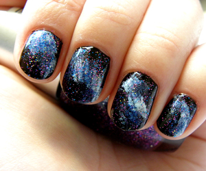 nails, galaxy, and girl image