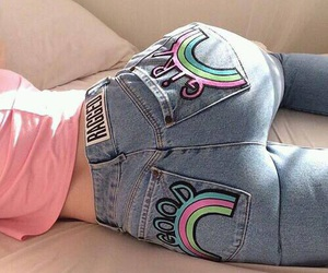 jeans, pink, and rainbow image