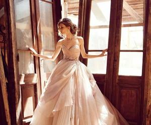 dress, wedding, and white dress image