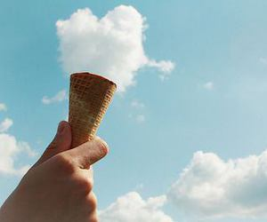 clouds, ice cream, and sky image