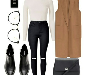 black&white, coat, and glasses image