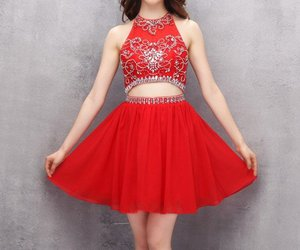red homecoming dress, mini homecoming dress, and handmade homecoming dress image