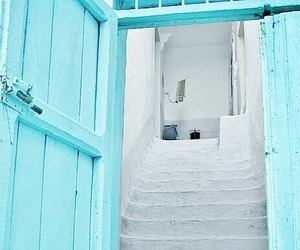 blue, door, and white image