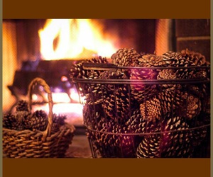 autumn, fall, and fireplace image