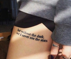 girl, thigh tattoo, and inked image