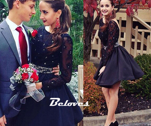 cocktail dress, long sleeve, and black image