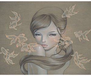 girl, audrey kawasaki, and fish image