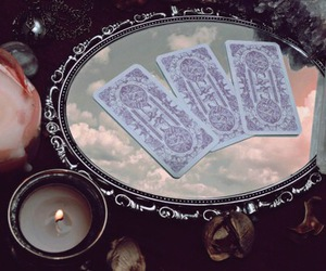 candle, magic, and cards image