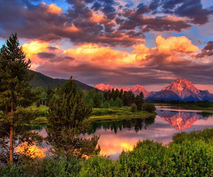 mountains, sunset, and lake image