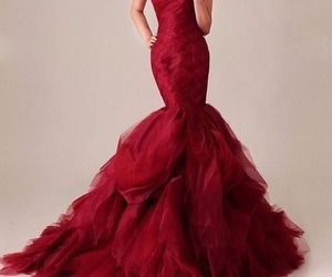 dress, red, and mermaid image