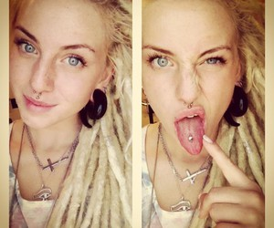 dreads, piercing, and blonde image