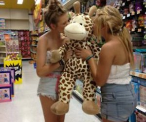 girl, friends, and giraffe image