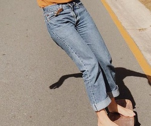 clothes, denim, and mustard image