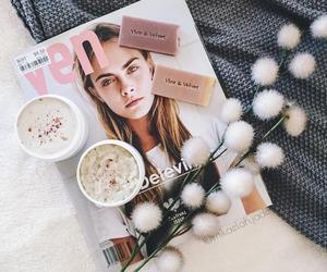 magazine, coffee, and flowers image