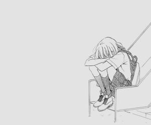 anime girl, black and white, and sad image