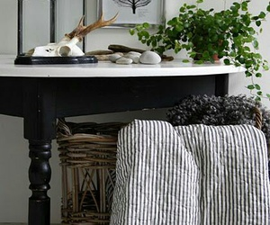 black and white stripes, decorative, and black table image