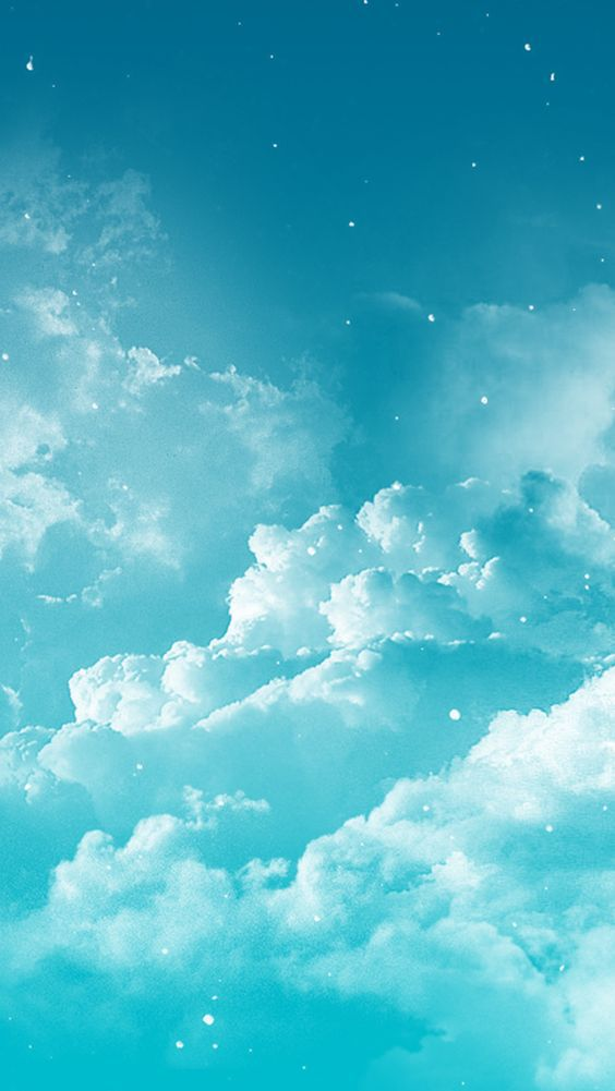 Blue Turquoise Aqua Clouds Sky Iphone Phone Wallpaper