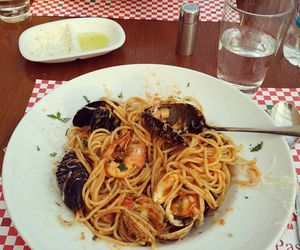 food, pasta, and seafood image