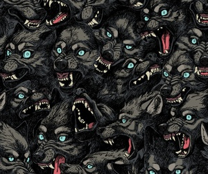 background, pattern, and wolf image