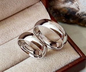 couple, wedding, and rings image