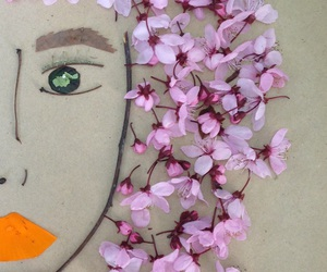 art, face, and flowers image