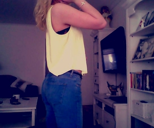 jeans, tank top, and yellow image