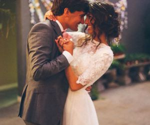 bride and groom, romantic, and wedding image