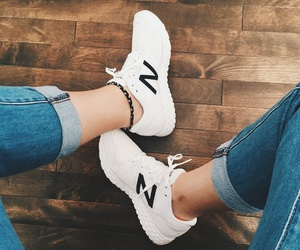 jeans, white, and shoes image