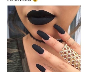 black, lipstick, and nails image