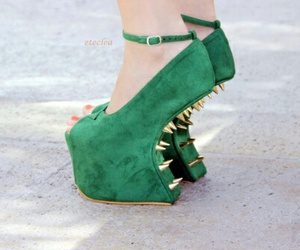 green shoes, gold spikes, and platforms image