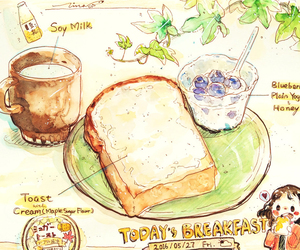 anime, art, and breakfast image
