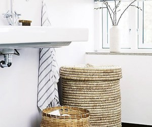 tiled floor, turkish towels, and modern rustic bath image