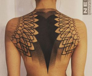 back, feathers, and tattoo image
