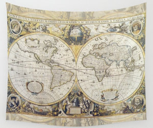 bedroom decor, etsy, and world map tapestry image