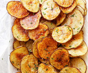 food, chips, and potato image