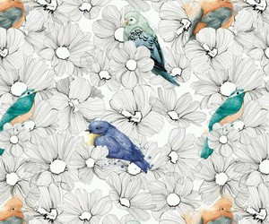 flowers, bird, and drawing image