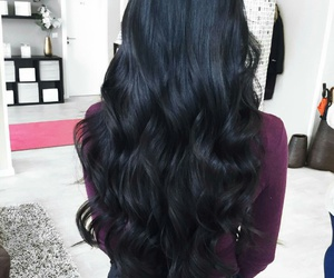 hair goals, flawless hairstyle, and long wavy black hair image