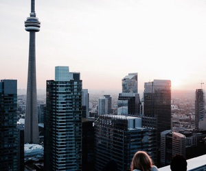 city, travel, and sunset image